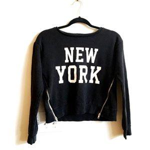 H & M Divided Crop Sweatshirt Zipper New York XS